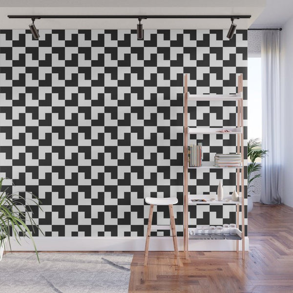 Black and White Tessellation - Adhesive Wallpaper - Removable Wallpaper - Wall Sticker - Full Size Wall Mural  - PIPAFINEART