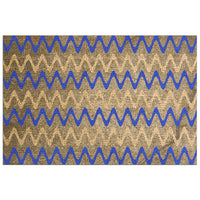 Blue and Tan Zigzag Stripes on Grungy Brown Burlap - Adhesive Wallpaper - Removable Wallpaper - Wall Sticker - Full Size Wall Mural  - PIPAFINEART