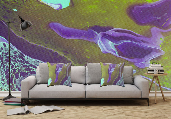 Mixed Art Texture - Fluid Art - Acrylic Dirty Paint Pour 32 - Adhesive Wallpaper - Removable Wallpaper - Wall Sticker - Full Size Wall Mural