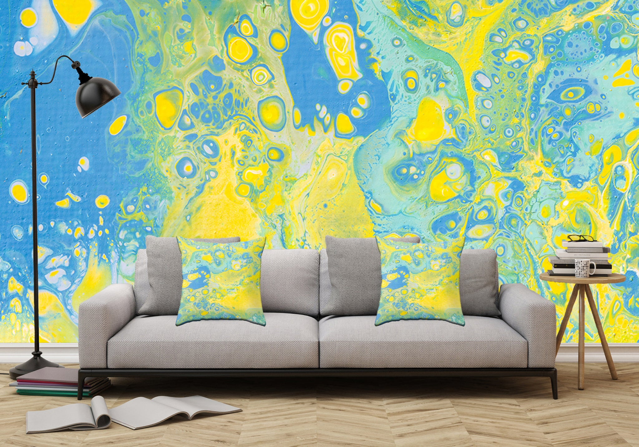 Removable Wall Mural - Wallpaper Abstract Artwork - Fluid Art Pour ...