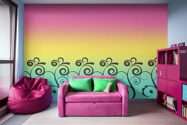 Misty Rainbow Swirl Wall Mural - Adhesive Wallpaper - Removable Wallpaper - Wall Sticker - Full Size Wall Mural