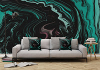 Pink, Teal, and Black Abstract Art Digital Fluid Artwork - Adhesive Wallpaper - Removable Wallpaper - Wall Sticker - Full Size Wall Mural  - PIPAFINEART