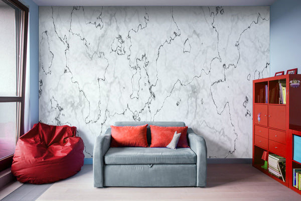Marble Stone White, Black and Gray Texture - Adhesive Wallpaper - Removable Wallpaper - Wall Sticker - Full Size Wall Mural  - PIPAFINEART