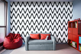 Zig Zag Horizontal Black and White Stripes - Adhesive Wallpaper - Removable Wallpaper - Wall Sticker - Full Size Wall Mural  - PIPAFINEART