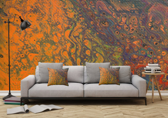 Mixed Art Texture - Fluid Art - Acrylic Dirty Paint Pour 16 - Adhesive Wallpaper - Removable Wallpaper - Wall Sticker - Full Size Wall Mural