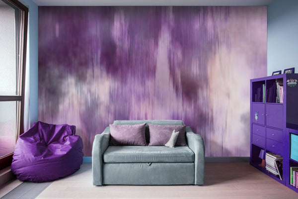 Purple Fusion Watercolor Patches - Peel and Stick Removable Wallpaper Full Size Wall Mural  - PIPAFINEART