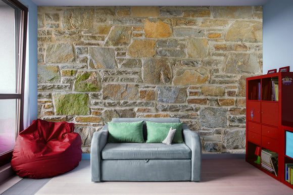 Avondale Brown Stone Wall and Mortar Texture Photograph - Adhesive Wallpaper - Removable Wallpaper - Wall Sticker - Full Size Wall Mural