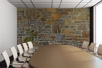 Avondale Brown Stone Wall and Mortar Texture - Peel and Stick Removable Wallpaper Full Size Wall Mural  - PIPAFINEART
