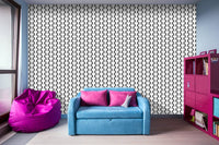 Black and White Basket Weave Circles Shapes 2 - Adhesive Wallpaper - Removable Wallpaper - Wall Sticker - Full Size Wall Mural - PIPAFINEART