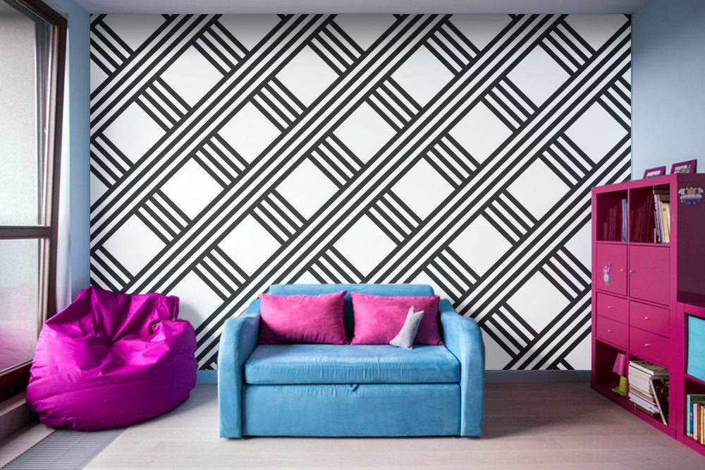 Diagonal Black and White Stripes Grid Illustration - Adhesive Wallpaper -  Removable Wallpaper - Wall Sticker ... 211a6b53eef0
