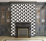 Black and White Tessellation - Adhesive Wallpaper - Removable Wallpaper - Wall Sticker - Full Size Wall Mural