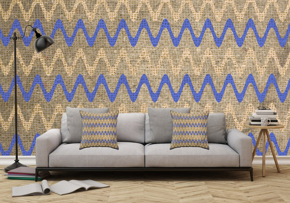 Blue and Tan Zigzag Stripes on Grungy Brown Burlap - Adhesive Wallpaper - Removable Wallpaper - Wall Sticker - Full Size Wall Mural