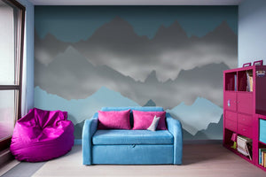 Blue Mountains and Mist - Adhesive Wallpaper - Removable Wallpaper - Wall Sticker - Full Size Wall Mural
