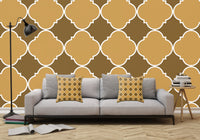 Brown and Beige Ornamental Pattern with White Border - Adhesive Wallpaper - Removable Wallpaper - Wall Sticker - Full Size Wall Mural - PIPAFINEART