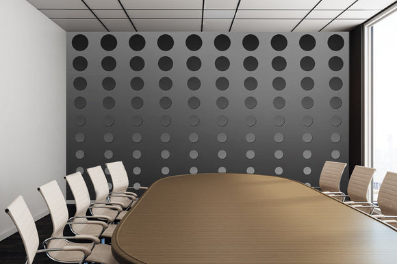 Grey Gradient Dots Illustration - Adhesive Wallpaper - Removable Wallpaper - Wall Sticker - Full Size Wall Mural