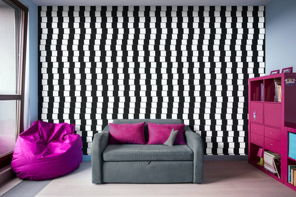 Offset Black and White Lines - Adhesive Wallpaper - Removable Wallpaper - Wall Sticker - Full Size Wall Mural