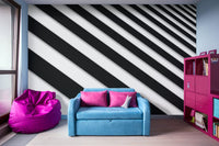 Perspective Solid Lines Black and White - Peel and Stick Removable Wallpaper Full Size Wall Mural  - PIPAFINEART