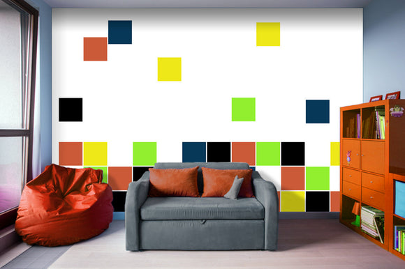 Retro Blocks - Adhesive Wallpaper - Removable Wallpaper - Wall Sticker - Full Size Wall Mural