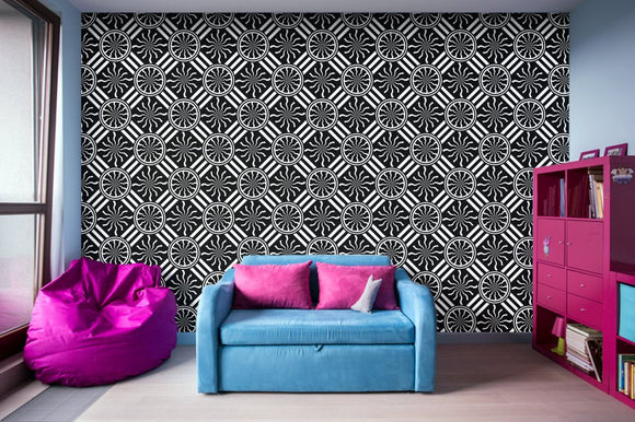Wavy Black and White Pinwheel and Stripes Illustration - Adhesive Wallpaper - Removable Wallpaper - Wall Sticker - Full Size Wall Mural