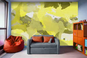 Yellow Splatters Watercolor - Adhesive Wallpaper - Removable Wallpaper - Wall Sticker - Full Size Wall Mural