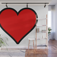 Bold Red Heart Shape Illustration - Adhesive Wallpaper - Removable Wallpaper - Wall Sticker - Full Size Wall Mural  - PIPAFINEART