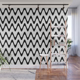Zig Zag Horizontal Black and White Stripes - Adhesive Wallpaper - Removable Wallpaper - Wall Sticker - Full Size Wall Mural