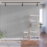 Black and White Basket Weave Circles Shapes 2 - Adhesive Wallpaper - Removable Wallpaper - Wall Sticker - Full Size Wall Mural