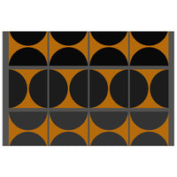 Black and Gray Gradient with Gold Squares and Half Circles - Adhesive Wallpaper - Removable Wallpaper - Wall Sticker - Full Size Wall Mural - PIPAFINEART