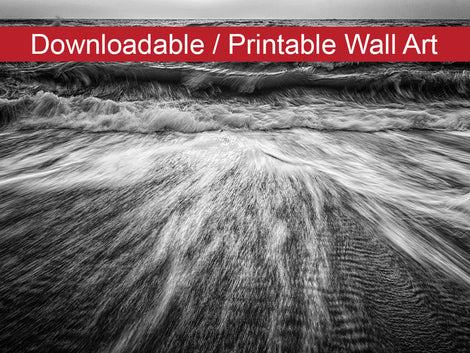 Washing Out to Sea in Black and White Coastal Nature Photo DIY Wall Decor Instant Download Print - Printable