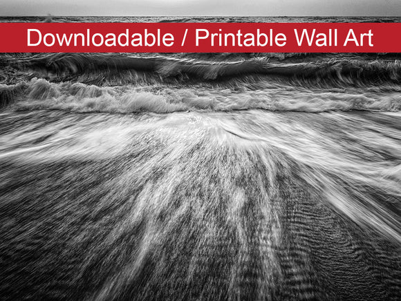 Digital Wall Art, Downloadable Prints, Coastal Nature Photo Washing Out to Sea in Black and White - Instant Download Print - Printable