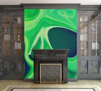 Harmonious Greens Abstract Digital Fluid Artwork - Adhesive Wallpaper - Removable Wallpaper - Wall Sticker - Full Size Wall Mural