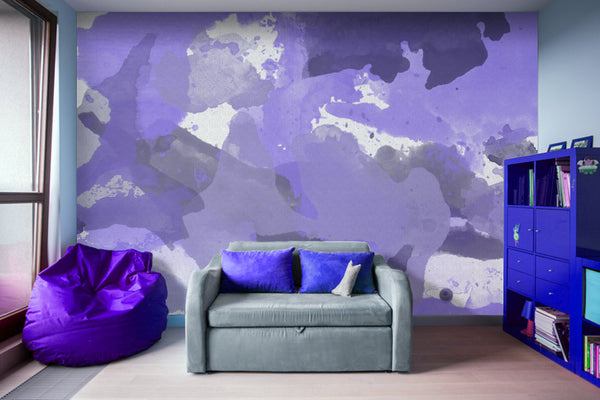 Purple Splatters Watercolor Patches - Adhesive Wallpaper - Removable Wallpaper - Wall Sticker - Full Size Wall Mural  - PIPAFINEART