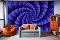 Nautilus Purple Swirl Digital Wall Art - Adhesive Wallpaper - Removable Wallpaper - Wall Sticker - Full Size Wall Mural - PIPAFINEART