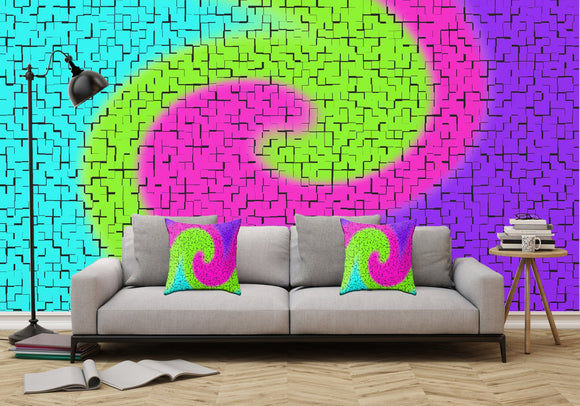 Tile Twirl - Adhesive Wallpaper - Removable Wallpaper - Wall Sticker - Full Size Wall Mural