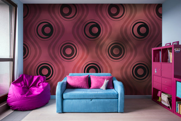 Bold Circle Rings Wavy Lines on Abstract Blurred Red Patch - Adhesive Wallpaper - Removable Wallpaper - Wall Sticker - Full Size Wall Mural  - PIPAFINEART