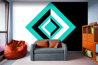 Teal, Black, and White Geometric Shapes - Peel and Stick Removable Wallpaper Full Size Wall Mural  - PIPAFINEART