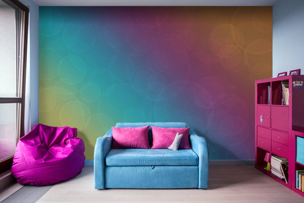 Bohek Bubbles on Rainbow of Color - Adhesive Wallpaper - Removable Wallpaper - Wall Sticker - Full Size Wall Mural