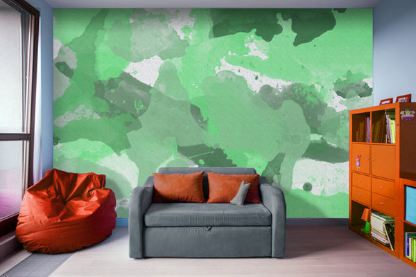 Green Splatters Watercolor - Adhesive Wallpaper - Removable Wallpaper - Wall Sticker - Full Size Wall Mural
