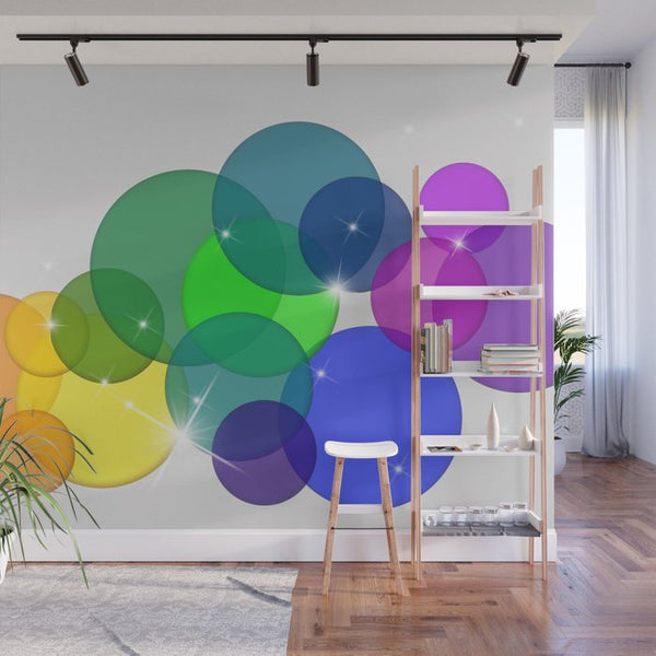 Translucent Rainbow Colored Circles Illustration - Adhesive Wallpaper - Removable Wallpaper - Wall Sticker - Full Size Wall Mural  - PIPAFINEART