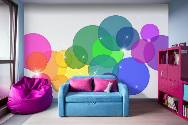 Translucent Rainbow Colored Circles Illustration - Adhesive Wallpaper - Removable Wallpaper - Wall Sticker - Full Size Wall Mural