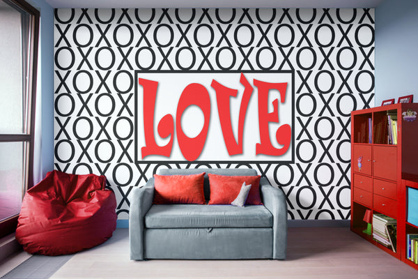 Love Xs and Os Pattern Adhesive Wallpaper - Removable Wallpaper - Wall Sticker - Full Size Wall Mural