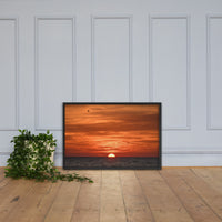 Fire in the Sky Coastal Sunset Landscape Photo Framed Wall Art Print Black / 24×36 - PIPAFINEART