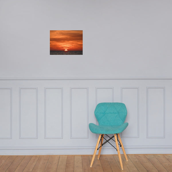 Fire in the Sky Coastal Sunset Landscape Photo Paper Poster 12×16 - PIPAFINEART