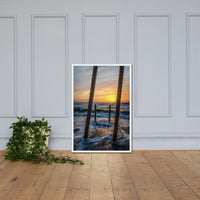 Sunrise Between the Pillars Coastal Landscape Framed Photo Paper Wall Art Prints White / 24×36 - PIPAFINEART