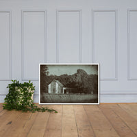 Patriotic Barn in Field Vintage Black and White Glass Plate Framed Photo Paper Wall Art Prints White / 24×36 - PIPAFINEART
