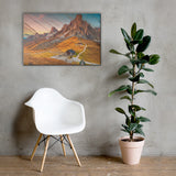 Faux Wood Majestic Sunset and Alpine Mountain Pass Canvas Wall Art Prints - Rural / Farmhouse / Country Style Landscape Scene 24×36