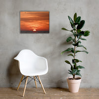 Fire in the Sky Coastal Sunset Landscape Photo Canvas Wall Art Print 18×24 - PIPAFINEART