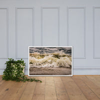 Crashing Ashore Coastal Nature Photo Framed Wall Art Print White / 24×36 - PIPAFINEART