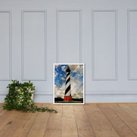 Cape Hatteras Lighthouse Landscape Photo Faux Wood Framed Photo Paper Wall Art Prints - Coastal / Beach / Shore / Seascape Landscape Scene White / 18×24