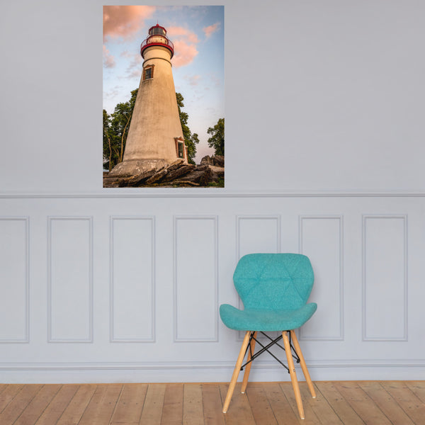 Marblehead Lighthouse at Sunset From the Shore Landscape Photo Loose Wall Art Print 24×36 - PIPAFINEART